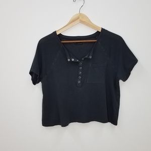 UO Out From Under Grey Snap Front Crop Top